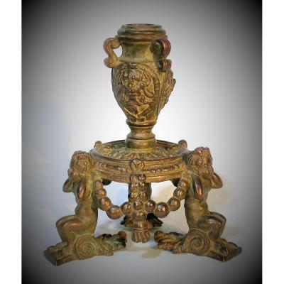 Torch In Bronze -italy (verona), Circa 1600