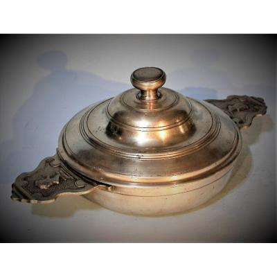Very Rare Pewter Bowl (pewter) From La Reole-en-bazadois, XVIIIth Century