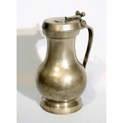 Rare Pewter Wine Jug From Toulouse, XVIIIth Century