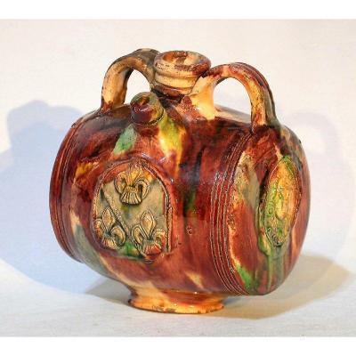 Varnished Earth Bottle - Saintonge, 17th Century