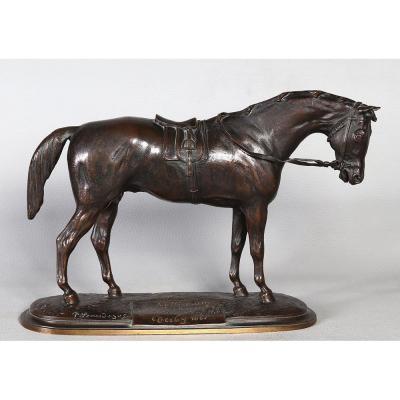 Bronze XIX ème, Pierre Lenordez 1815/1892, Bronze Cheval Course
