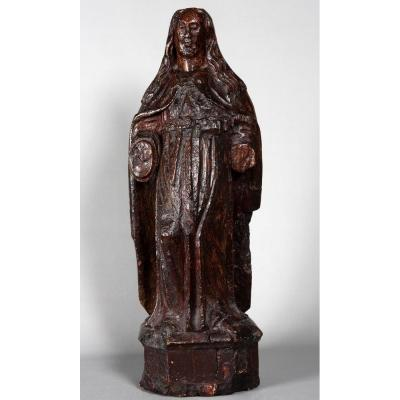 Large 16th Century Wooden Sculpture (in Oak), Virgin