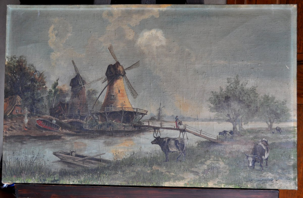 Table - Painting - Oil On Canvas Signed Depooter Frans 1898-1987