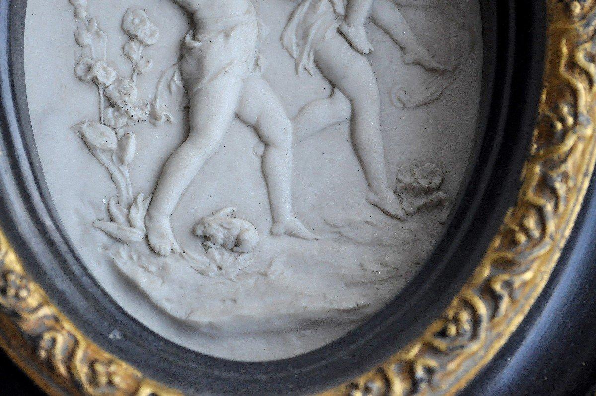 Sculpture - Plaque Ovale En Marbre - 19ème Siècle Signée-photo-4