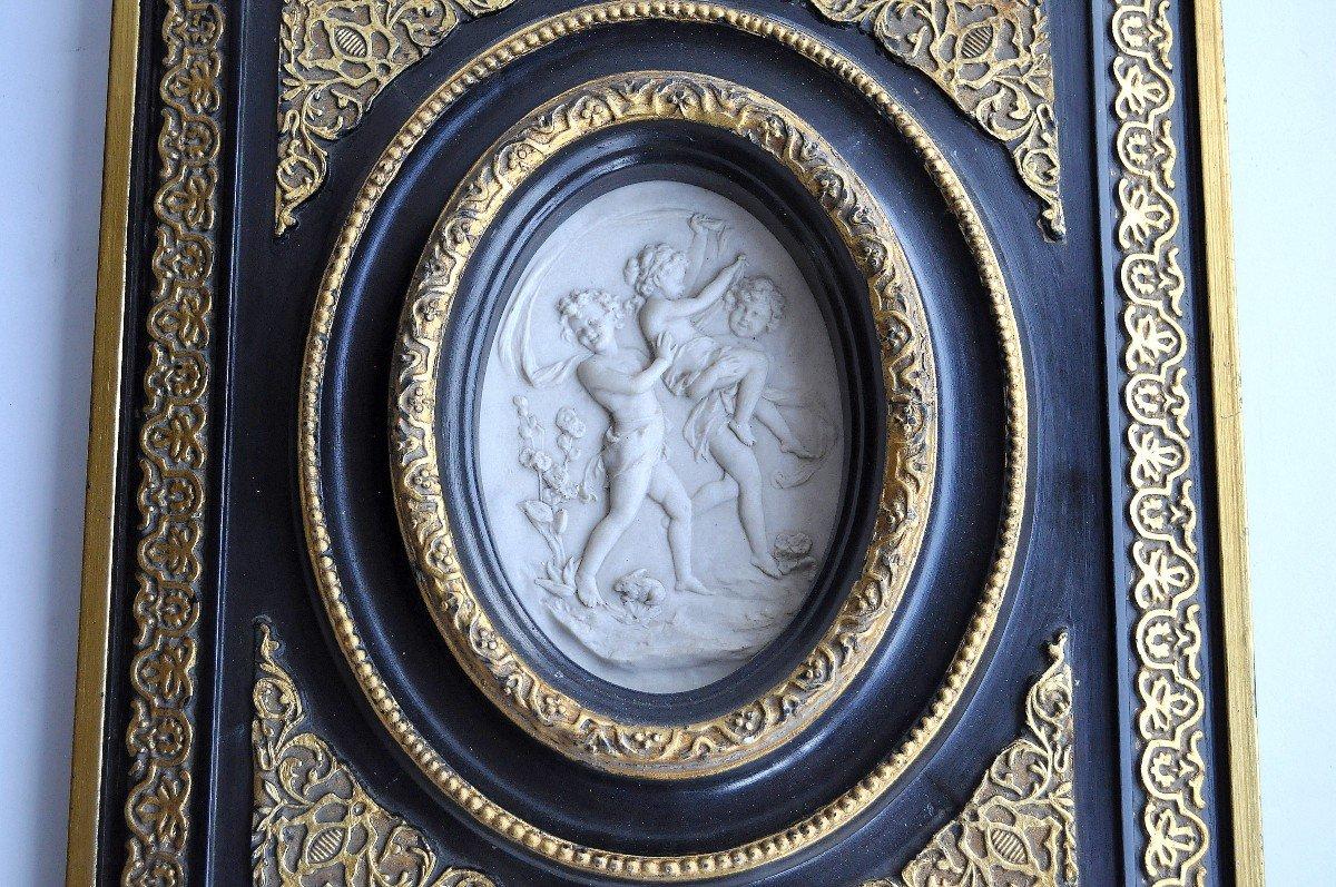 Sculpture - Plaque Ovale En Marbre - 19ème Siècle Signée-photo-3