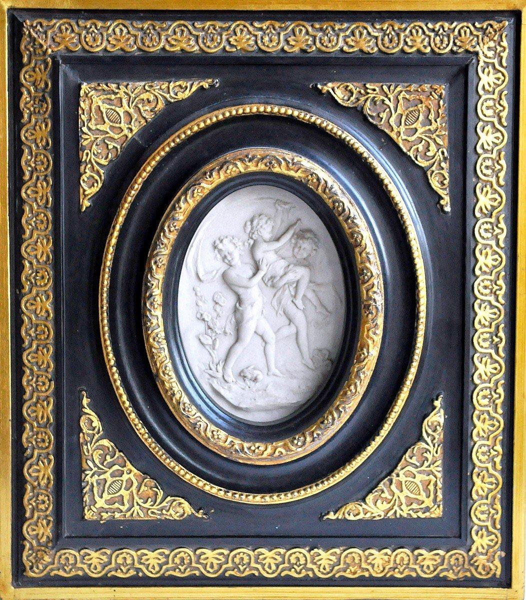 Sculpture - Plaque Ovale En Marbre - 19ème Siècle Signée