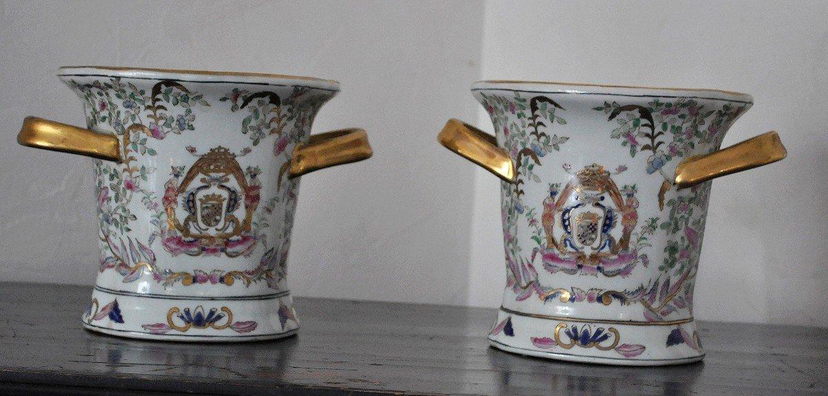 Paire De Pots En Porcelaine - Début XXème-photo-2