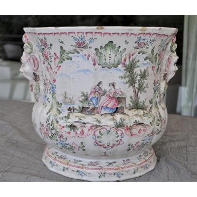 Faience From Marseille - Cache Monogrammed Vp Pot For Widow Perrin (style), 19th Century