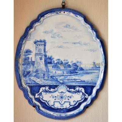Beautiful and large 18th century Delft earthenware scalloped plaque.<br />