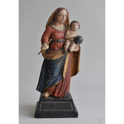 Sculpture - Virgin And Child In Polychrome Wood - Circa 1800