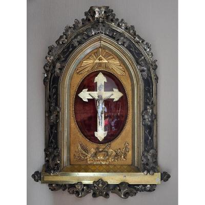 Religious Frame - 79 Cm - Wood And Golden Stucco - 19th Century
