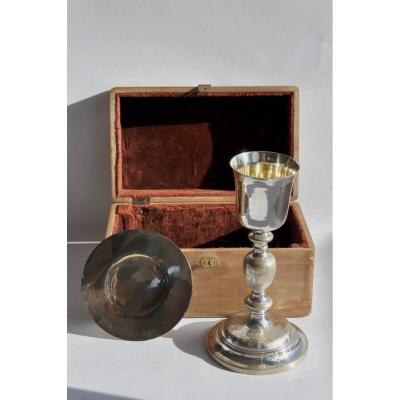 Chalice And Paten In Their Wooden Box - Silver, Silver Metal - Mid19th