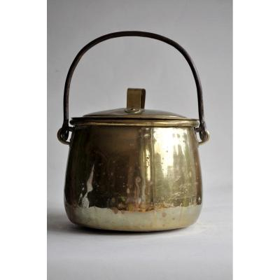 Cauldron Or Pot Covered In Yellow Copper - XIXth