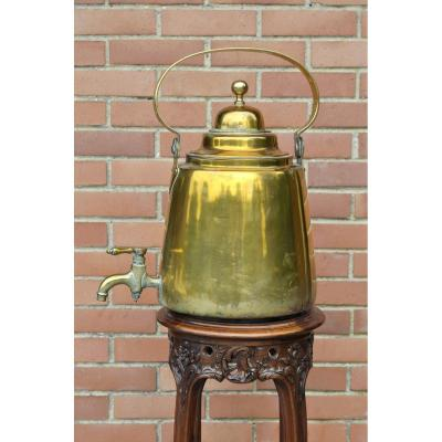 Large Table Kettle - Table Fountain - Yellow Copper - 18th Century