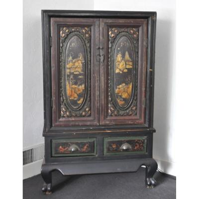China - Cabinet With Lacquered Decorations - Signed - Circa 1800