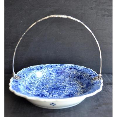Porcelaine De Makkum - Milieu Du 19ème - Plat porcelaine et argent