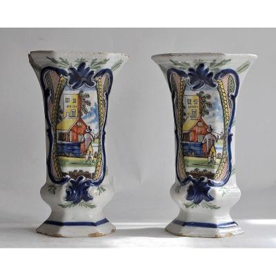 Delft Earthenware - XVIIIth - Pair Of Cornet Vases -