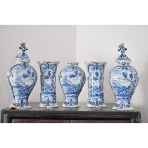 Delft - Earthenware Trim, 5 Pieces From The XVIIIth Century - Signed