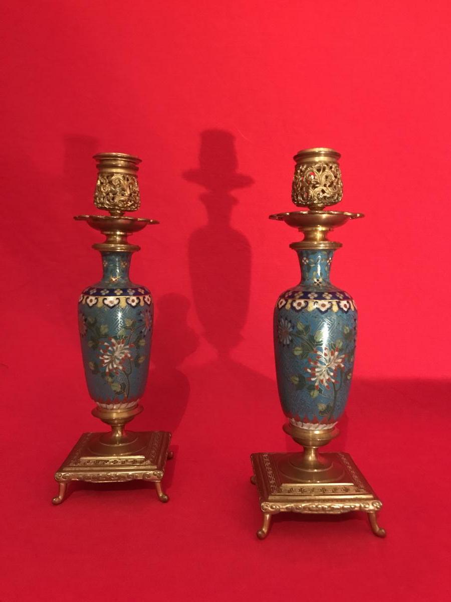 Paire De Flambeaux En Cloisonné Et Bronze Doré Par F.barbedienne Vers 1880