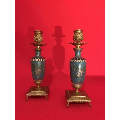 Pair Of Candlesticks In Cloisonne And Gilt Bronze By F.barbedienne 1880