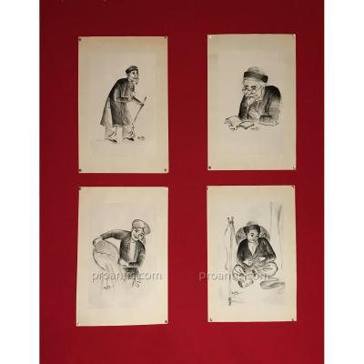 Suite De Quatre Portraits à L'encre De Chine Sur Soie, Vietnam Vers 1950, Signés Beky