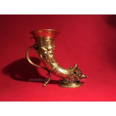 «l.c Sevin & F.barbedienne»coupe Dite Rython A Tête De Renard En Bronze, Travail Fin XIXéme
