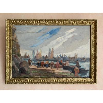 Pierre Abadie-landel (1896-1972), Landing At Douarnenez, Oil On Panel
