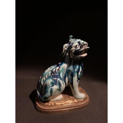 Chien De Fô En Porcelaine De Chine Monté Bronze, France Début XIXé