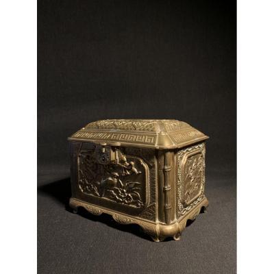 Coffret En Bronze à Décors Japonisant, Fin XIXé
