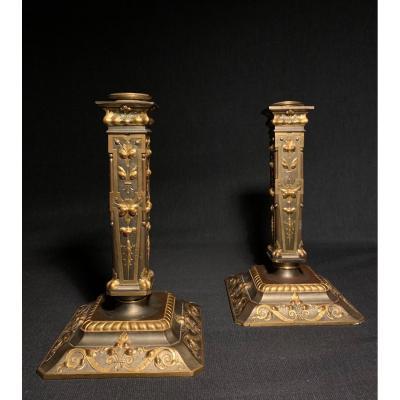 Paire De Flambeaux De Style Renaissance Par Louis Constant Sevin 1820-1878