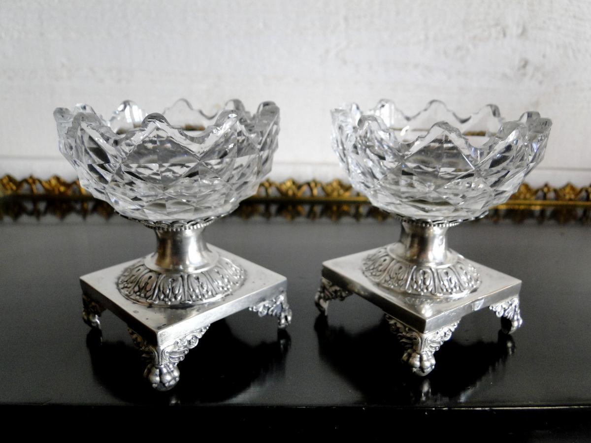 Paire De Salerons En Argent Massif & Cristal - Epoque Empire