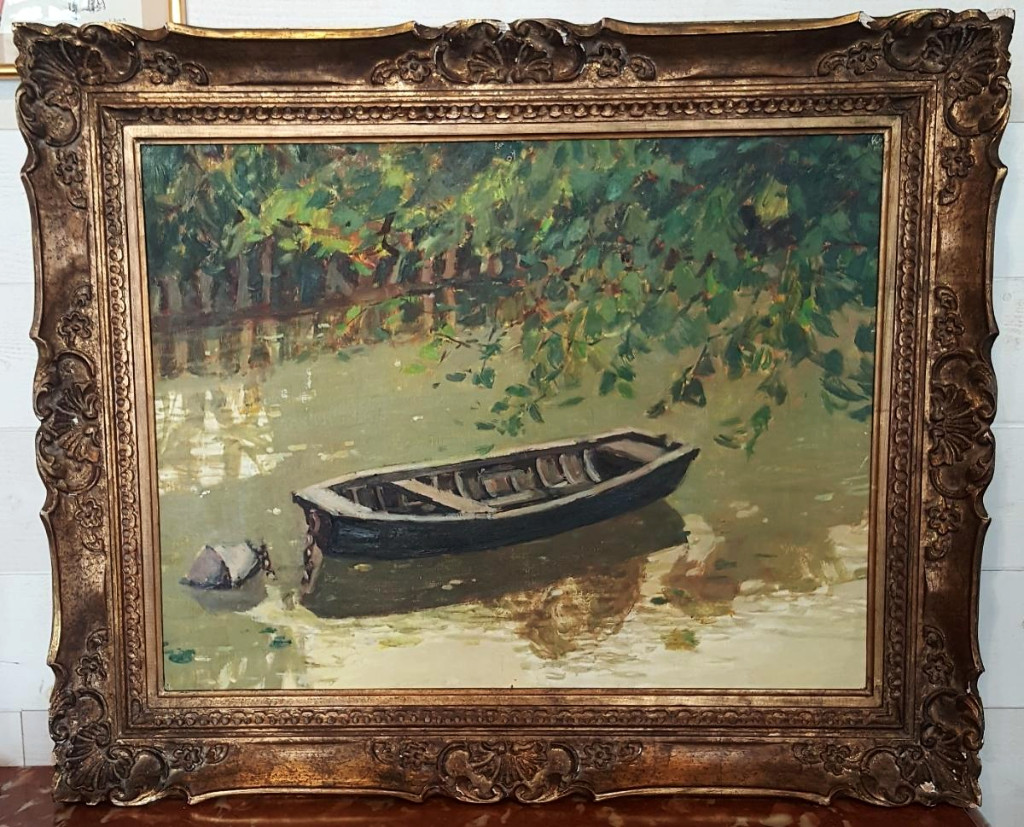 Impressionist School - Boat In River Canals