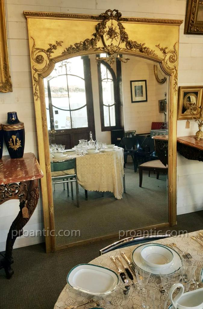 Large Mirror In Wood And Stucco Gilded, Early 19th Century