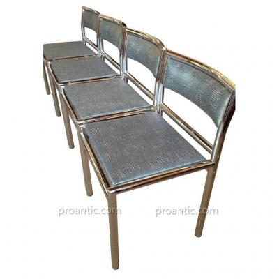 4 Chrome-plated Steel Chairs (taste Of Willy Rizzo) 70's