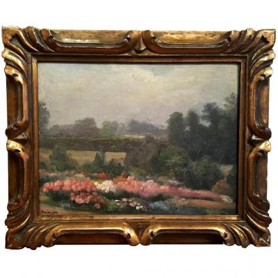 Flower Garden Landscape - Impressionist School