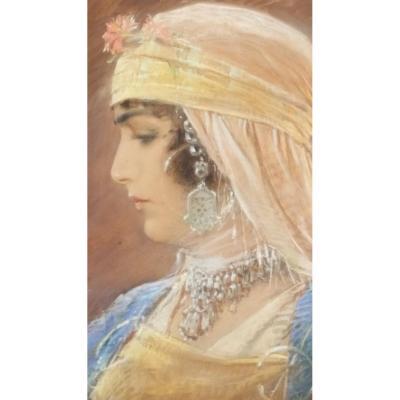 Portrait Orientaliste - Pastel Par K.V. Muttich (1873-1924)