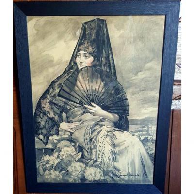 """ Sevillian Woman "" - Jules François Bernard"