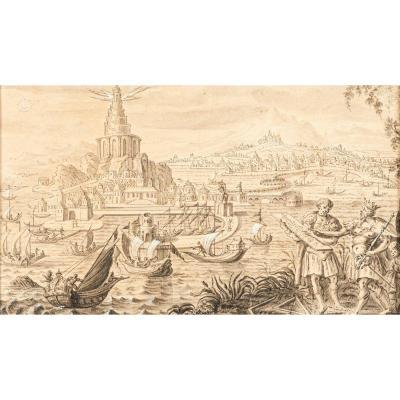 La construction du Phare d'Alexandrie – Suiveur de Marteen van Heemskerck vers 1600
