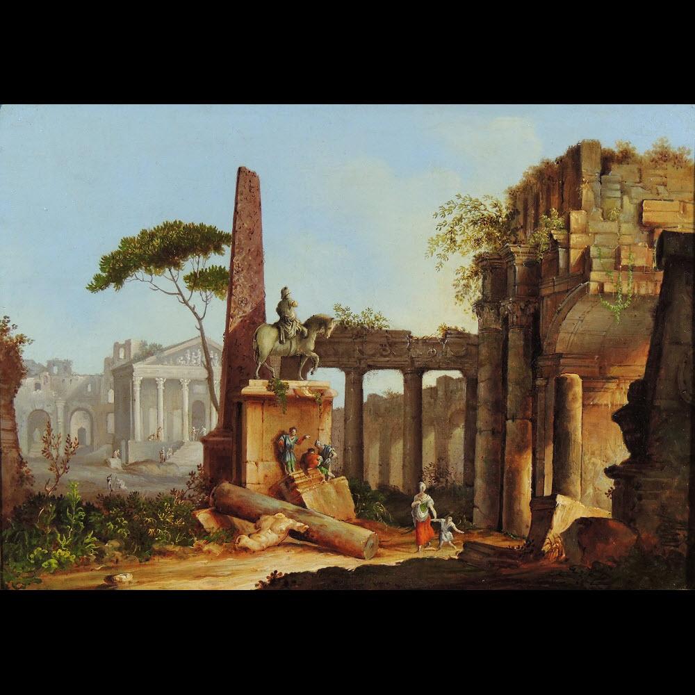 Caprice architectural à l'obélisque – Entourage de Marco Ricci (1676 – Venise 1730)