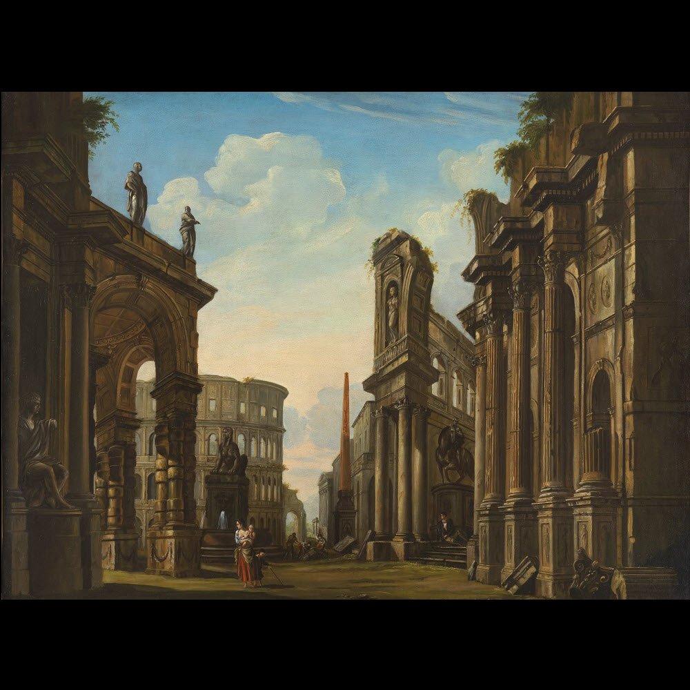 Grand caprice architectural romain – Suiveur de Panini XVIIIe siècle-photo-2