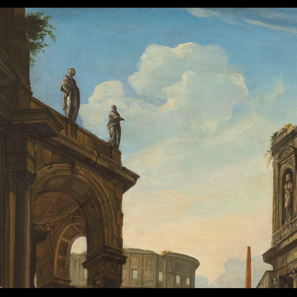 Grand caprice architectural romain – Suiveur de Panini XVIIIe siècle-photo-1