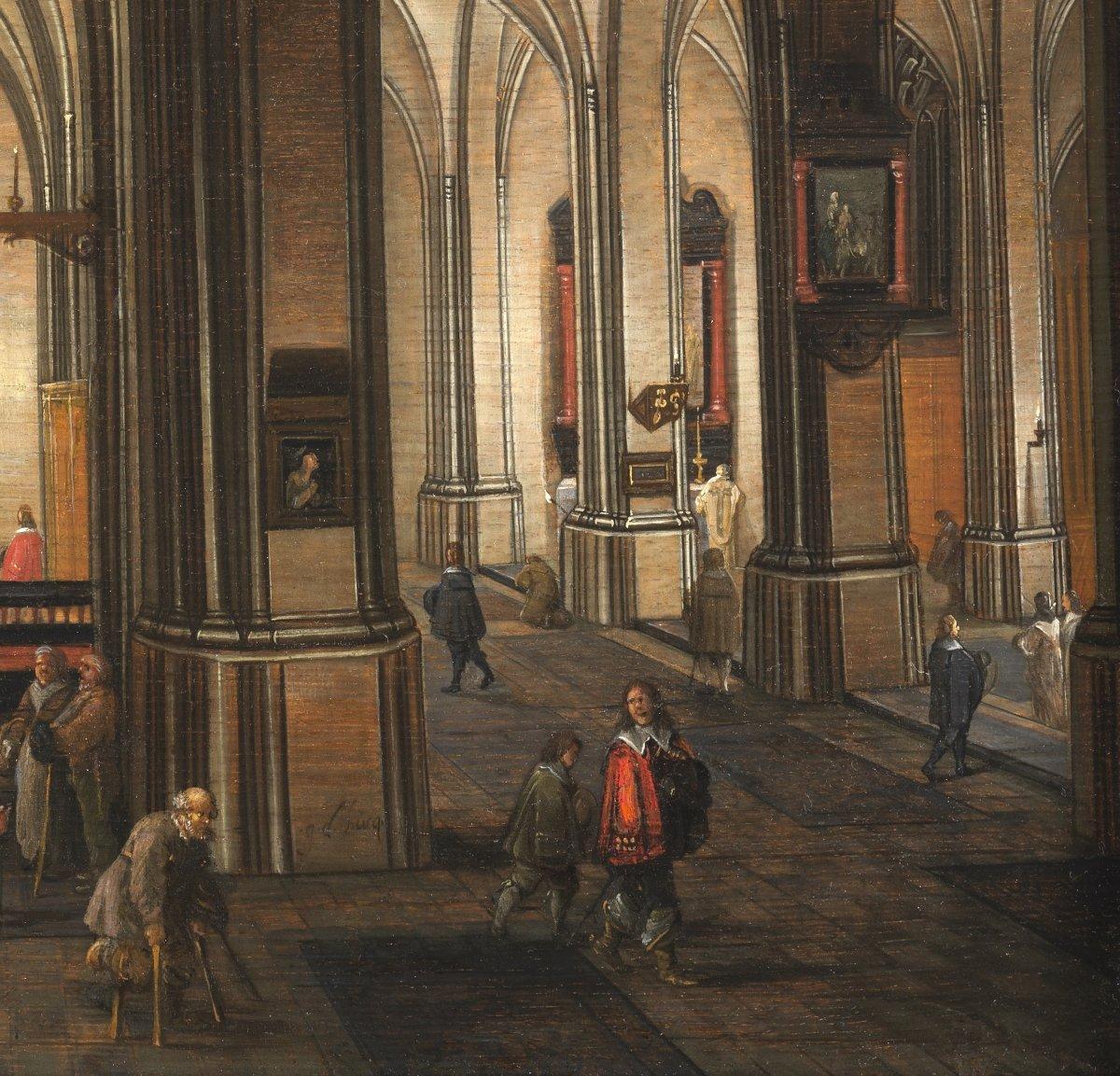 Intérieur d'église nocturne animé – Gerrit de Bucq (1576 – 1638)