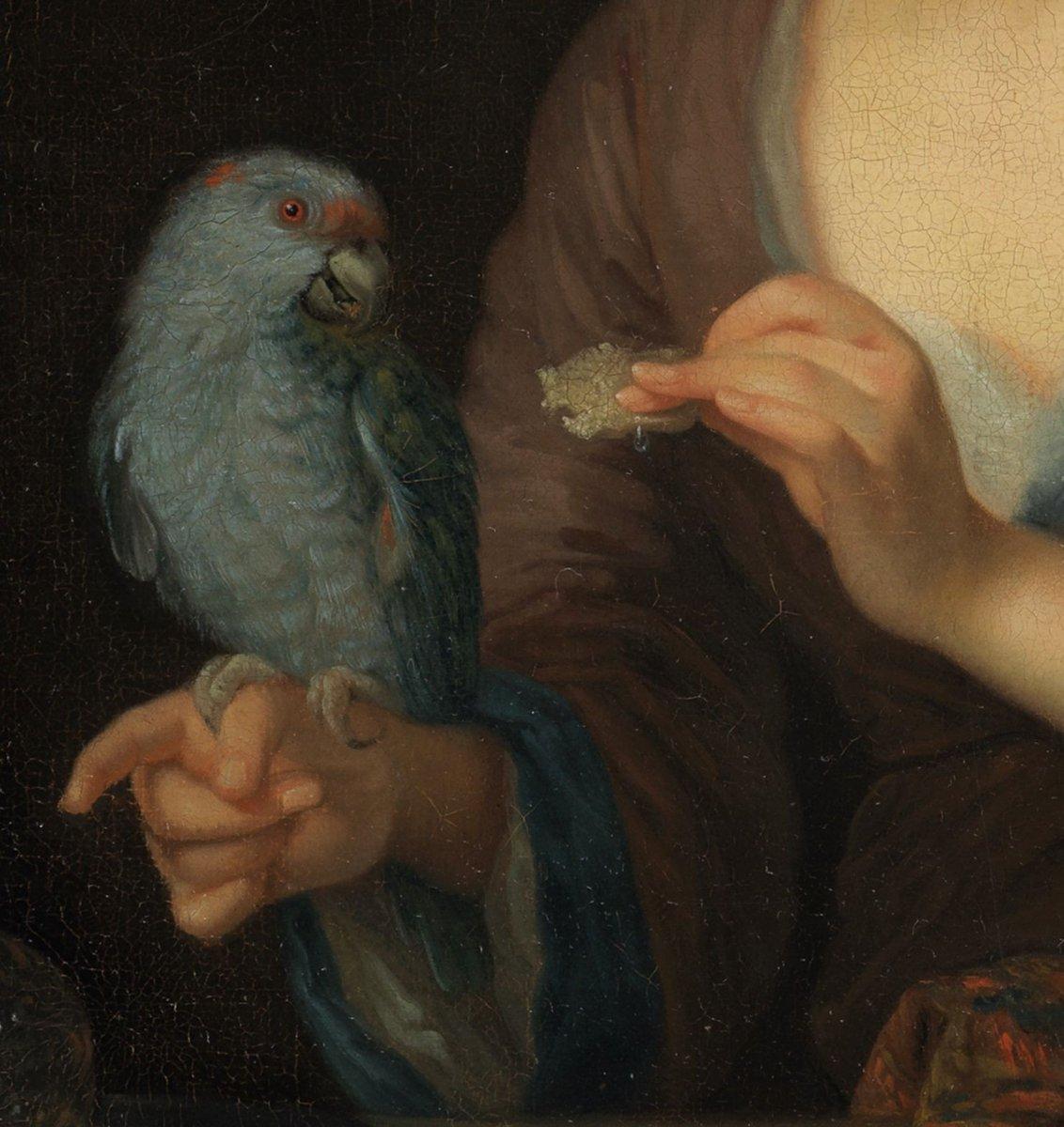 Dame Au Perroquet – Attr. à Godfried Schalcken – Ancienne Collection Duchesse De Kent