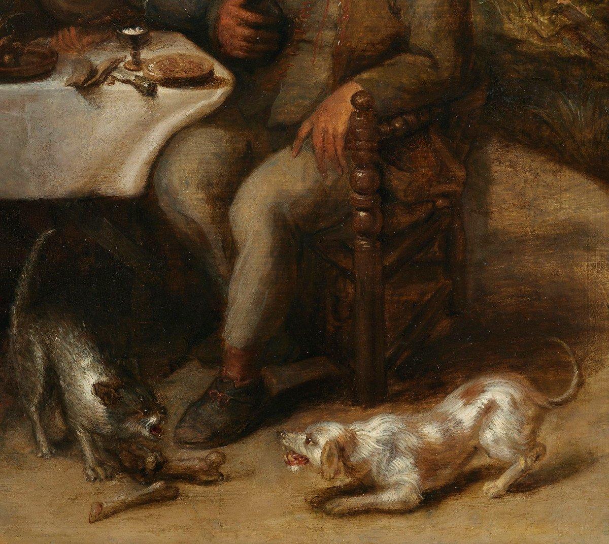 Repas paysan dans une taverne – entourage de David Ryckaert III (1612 – 1661)-photo-1