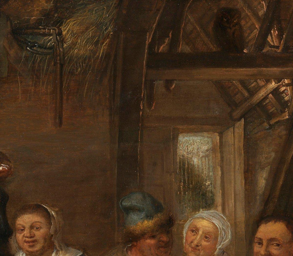 Repas paysan dans une taverne – entourage de David Ryckaert III (1612 – 1661)-photo-2