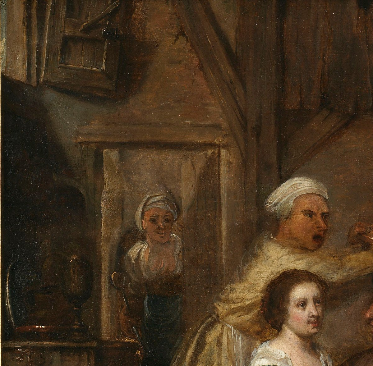Repas paysan dans une taverne – entourage de David Ryckaert III (1612 – 1661)-photo-3