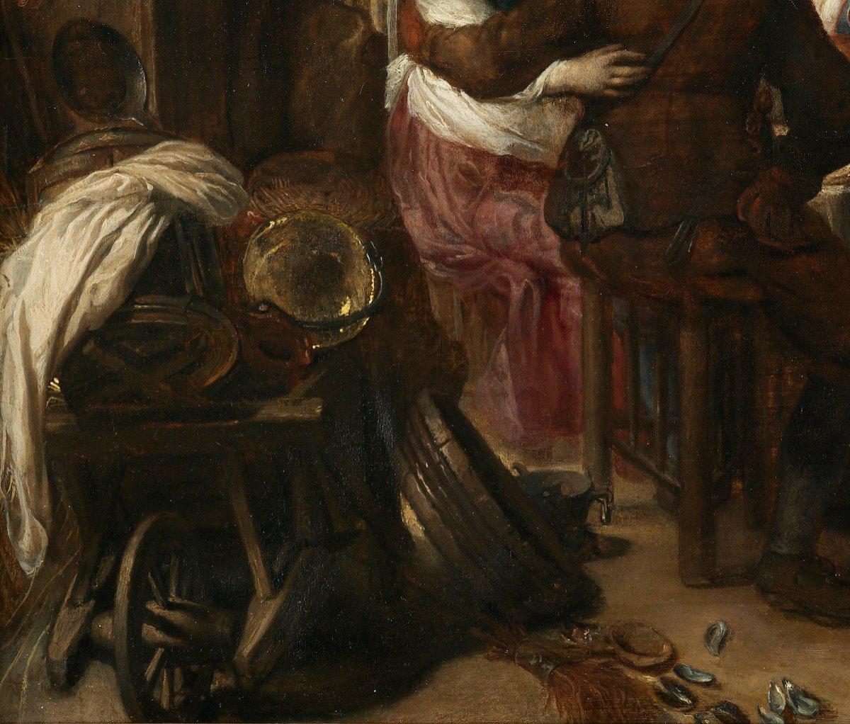 Repas paysan dans une taverne – entourage de David Ryckaert III (1612 – 1661)-photo-4