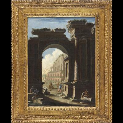 Caprice architectural début XVIIIème siècle – école de Giovanni Paolo Pannini