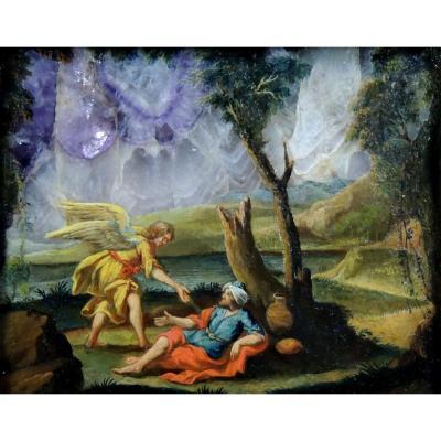 Peinture sur améthyste – Italie avant 1630 – Elie et l'Ange