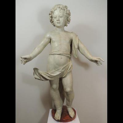 Putto en bois sculpté polychrome 107 cm - Italie 17ème siècle